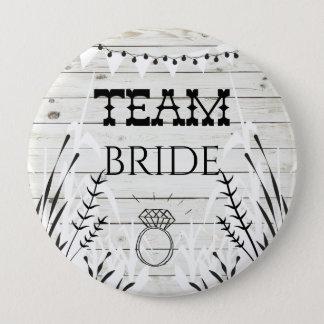 Bóton Redondo 10.16cm Eu faço o botão de madeira da noiva da equipe da