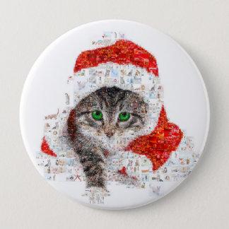 Bóton Redondo 10.16cm gato de Papai Noel - colagem do gato - gatinho -