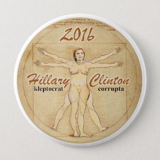 Bóton Redondo 10.16cm Hillary Clinton: corrupta do kleptocrat