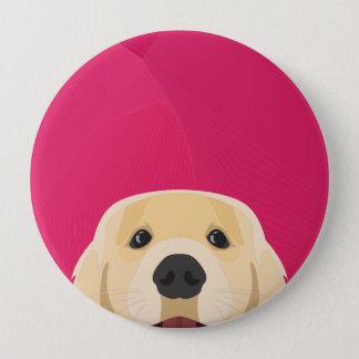 Bóton Redondo 10.16cm Ilustração Retriver dourado com fundo cor-de-rosa