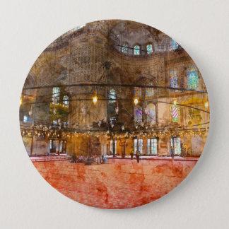 Bóton Redondo 10.16cm Interior da mesquita azul em Istambul Turquia