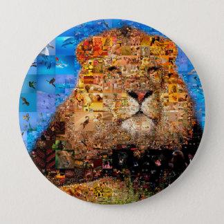 Bóton Redondo 10.16cm leão - colagem do leão - mosaico do leão - leão