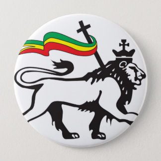 Bóton Redondo 10.16cm Leão do tribo de botão de Judah (branco)