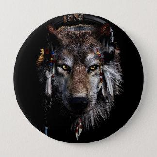 Bóton Redondo 10.16cm Lobo indiano - lobo cinzento