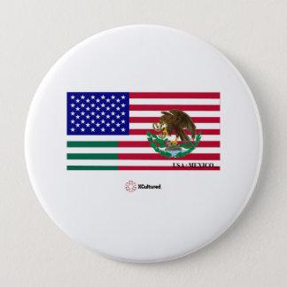 Bóton Redondo 10.16cm Mexicano e botão da bandeira dos EUA