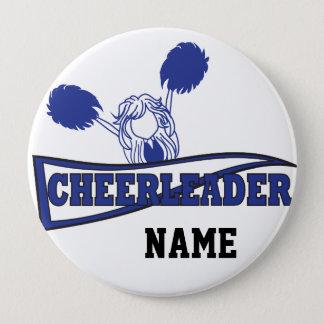 Bóton Redondo 10.16cm Nome bonito   da menina   DIY do cheerleader azul