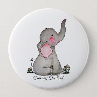 Bóton Redondo 10.16cm O elefante bonito do bebê da aguarela com cora &