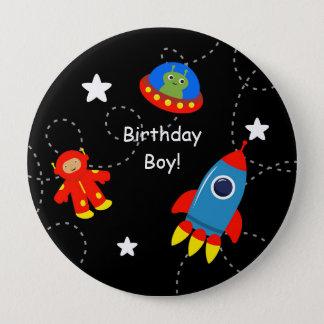 Bóton Redondo 10.16cm O espaço preto botão personalizado do aniversário