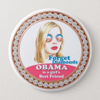 Bóton Redondo 10.16cm Obama é o melhor amigo de uma menina