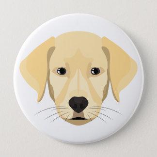 Bóton Redondo 10.16cm Ouro Retriver do filhote de cachorro da ilustração
