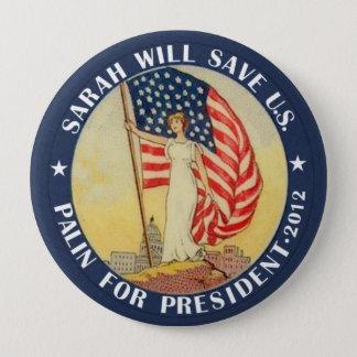Bóton Redondo 10.16cm Palin para o presidente 2012