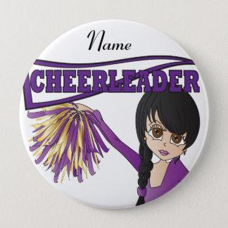 Bóton Redondo 10.16cm Personalize a menina roxa bonito do cheerleader