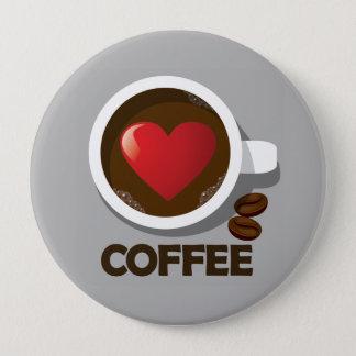 Bóton Redondo 10.16cm Pin do copo de café do coração