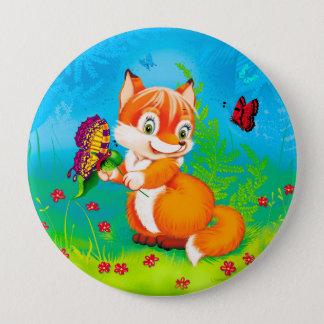 Bóton Redondo 10.16cm raposa e borboleta