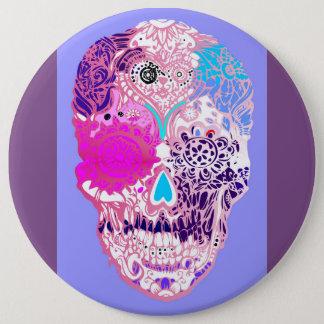 Bóton Redondo 15.24cm Adoce o crânio, rosa, crânio doce com flores