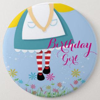 Bóton Redondo 15.24cm Alice no botão da menina do aniversário do país