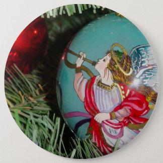 Bóton Redondo 15.24cm Anjo do Natal - arte do Natal - decorações do anjo