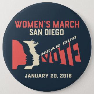 Bóton Redondo 15.24cm Botão do março San Diego Colassal das mulheres