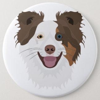 Bóton Redondo 15.24cm Cara feliz border collie dos cães da ilustração