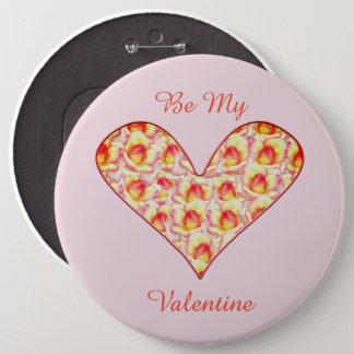 Bóton Redondo 15.24cm Cheio do coração do Pin dos namorados dos rosas