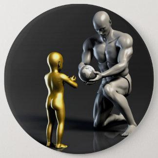 Bóton Redondo 15.24cm Criança de ensino do pai como um conceito em 3D