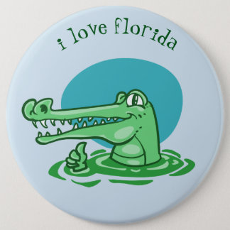 Bóton Redondo 15.24cm crocodilo engraçado eu amo desenhos animados de