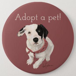 Bóton Redondo 15.24cm Filhote de cachorro pintado por mim para a adopção