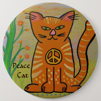 Bóton Redondo 15.24cm Gato da paz com flores