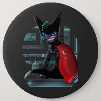 Bóton Redondo 15.24cm Gato de Ninja do Cyberpunk