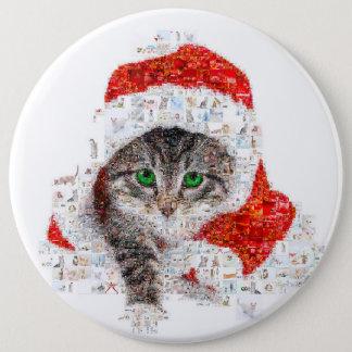 Bóton Redondo 15.24cm gato de Papai Noel - colagem do gato - gatinho -