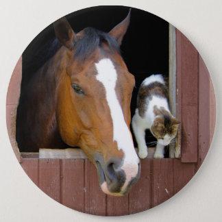 Bóton Redondo 15.24cm Gato e cavalo - rancho do cavalo - amantes do