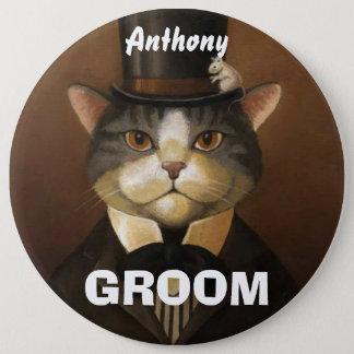 Bóton Redondo 15.24cm Gato engraçado do noivo