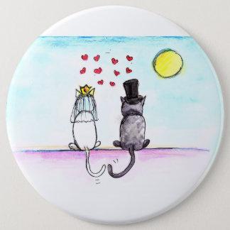 Bóton Redondo 15.24cm Gatos que Wedding o Pin dos noivos