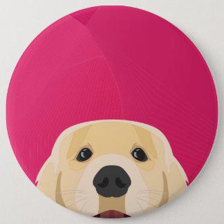 Bóton Redondo 15.24cm Ilustração Retriver dourado com fundo cor-de-rosa