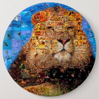 Bóton Redondo 15.24cm leão - colagem do leão - mosaico do leão - leão
