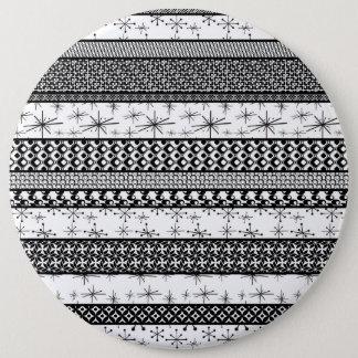 Bóton Redondo 15.24cm Listras retros pretas & brancas 1 do teste padrão