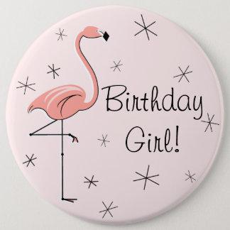 """Bóton Redondo 15.24cm Menina cor-de-rosa aniversário do flamingo do """"!"""""""