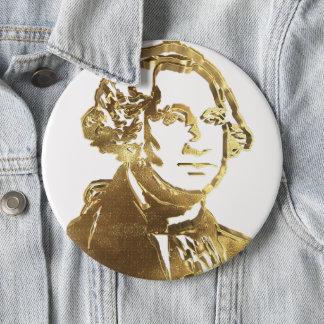 Bóton Redondo 15.24cm Ouro americano do retrato do presidente George