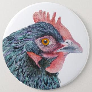 Bóton Redondo 15.24cm Pássaro da jarda de fazenda da aguarela do pássaro