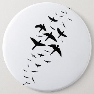 Bóton Redondo 15.24cm Pássaros pretos