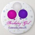 Bóton Redondo 15.24cm Personalizado: Botão da menina do aniversário