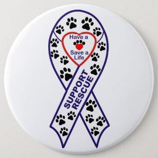 Bóton Redondo 15.24cm Pin do botão da fita do salvamento do animal de