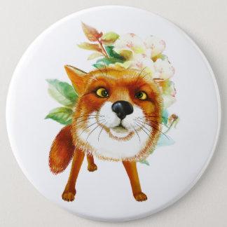 Bóton Redondo 15.24cm Rosas do Fox. Aguarela