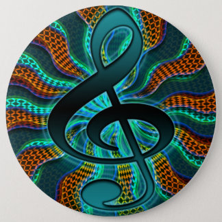Bóton Redondo 15.24cm Símbolo de música psicadélico do Clef do Clef de