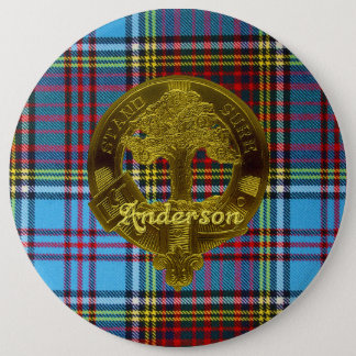 Bóton Redondo 15.24cm Tartan de Anderson & botão do motivo