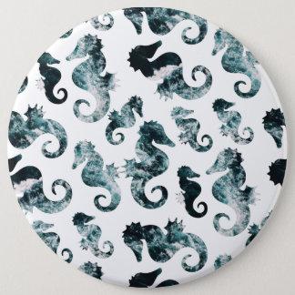 Bóton Redondo 15.24cm Teste padrão abstrato dos cavalos marinhos do aqua
