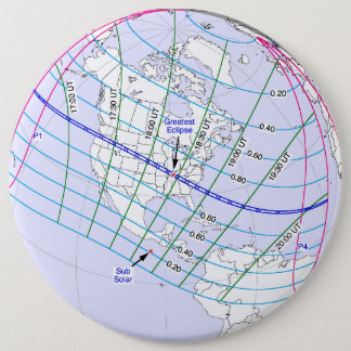 Bóton Redondo 15.24cm Trajeto global do eclipse solar 2017 totais
