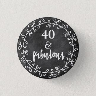 Bóton Redondo 2.54cm 40 & fabuloso - botão do costume do aniversário de