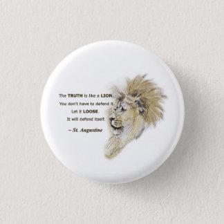 Bóton Redondo 2.54cm A verdade é como um leão. Botão político do