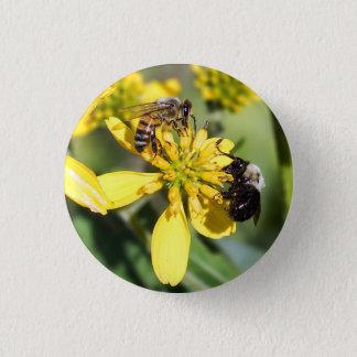 Bóton Redondo 2.54cm Abelha de mineração & abelha do mel no botão do